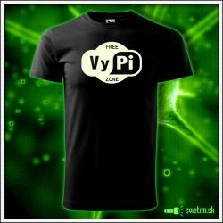Svietiace unisex tričko Free vypi zone, čierne vtipné alkoholové tričko