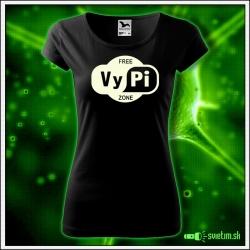 Svietiace dámske alkoholové tričko Free vypi zone, čierne vtipné tričko