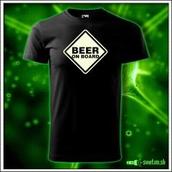 Svietiace unisex tričko Beer on board, čierne vtipné pivárske tričko