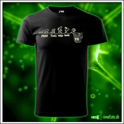 Svietiace unisex tričko Skok do piva, čierne vtipné pivárske tričko