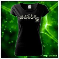 Svietiace dámske alkoholové tričko Skok do piva, čierne vtipné tričko darček