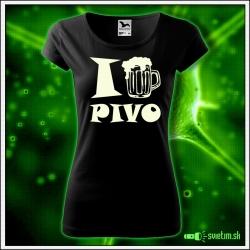Svietiace dámske alkoholové tričko I love pivo, čierne vtipné tričko darček