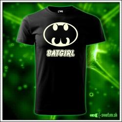Svietiace unisex tričko Batgirl, čierne vtipné tričko