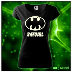 Dámske originálne čierne svietiace tričko Batgirl
