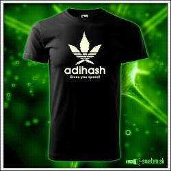 Svietiace unisex tričko Adihash gives you speed!, čierne vtipné tričko