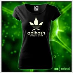 Dámske originálne čierne svietiace tričko Adihash Gives you speed!