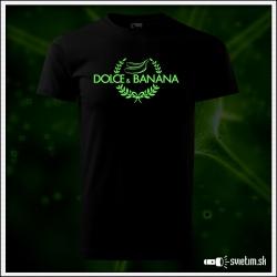Svietiace unisex tričko Dolce & Banana, čierne vtipné tričko Dolce & Gabbana