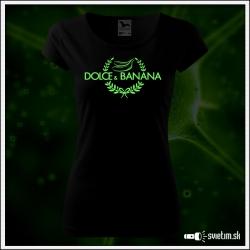 Svietiace dámske tričko Dolce & Banana, čierne vtipné tričko