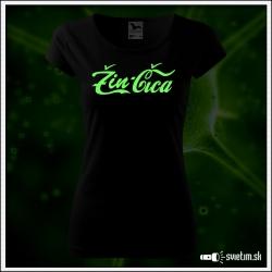 Svietiace dámske tričko Žin-čica, čierne vtipné tričko