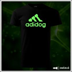 Svietiace unisex tričko Adidog paródia Adidas, čierne vtipné tričko