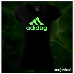 Dámske originálne čierne svietiace tričko Adidog paródia Adidas