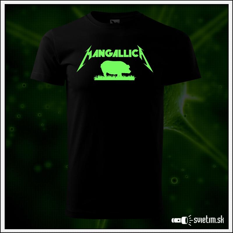 Svietiace unisex tričko Mangallica, čierne vtipné tričko mangalica