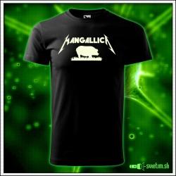 Originálne detské čierne svietiace tričko Mangalica paródia Metallica
