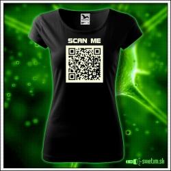 Svietiace dámske čierne vtipné tričko s QR kódom humorné darčeky
