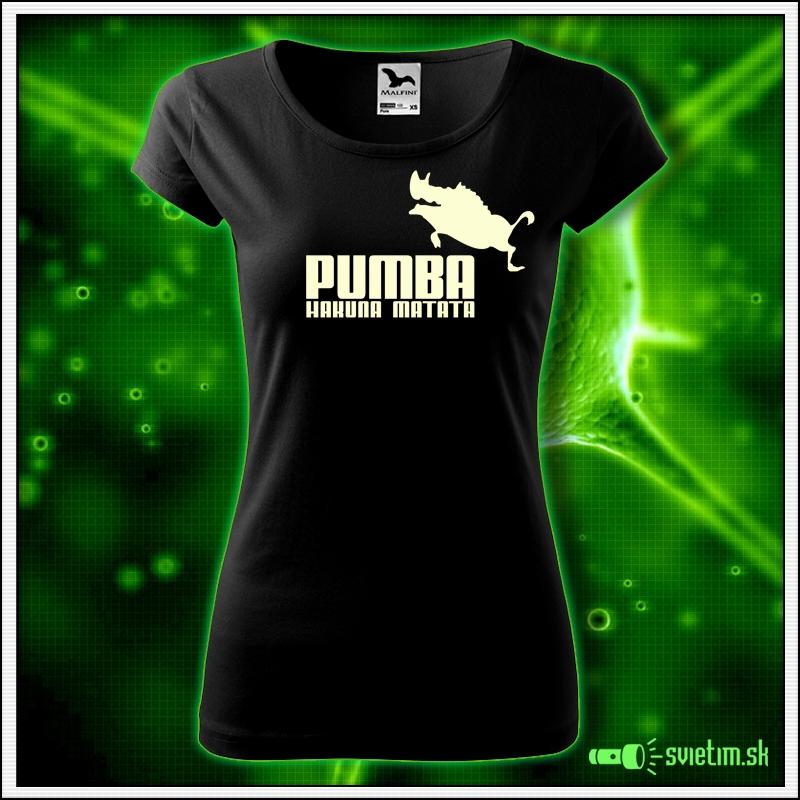 Svietiace dámske tričko Pumba hakuna matata, čierne vtipné tričko