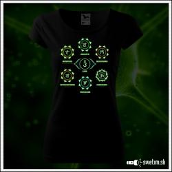 Čakry čierne dámske tričko s čakrami, sedem čakier