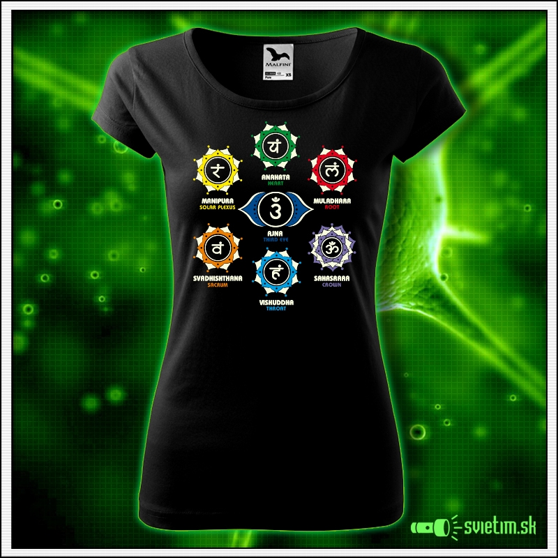 Dámske svietiace tričko Čakry, 7 čakier