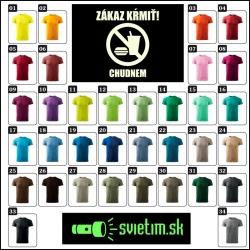 pánske farebné vtipné tričká zákaz kŕmiť chudnem svietiace tričko