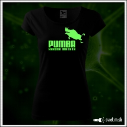 Dámske originálne čierne svietiace tričko Pumba hakuna matata