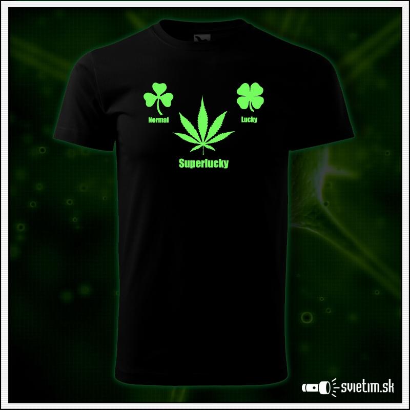 pánske vtipné svietiace tričko marihuana Superlucky cannabis humorný darček