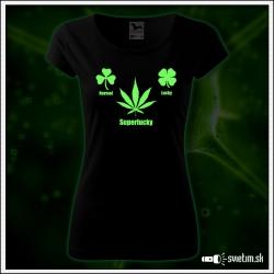 vtipné dámske tričko Superlucky marihuana vtipný darček cannabis