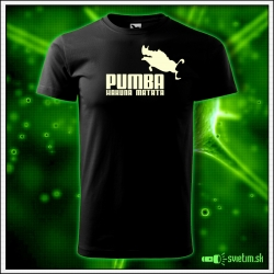 Svietiace detské tričko Pumba hakuna matata, čierne vtipné tričko