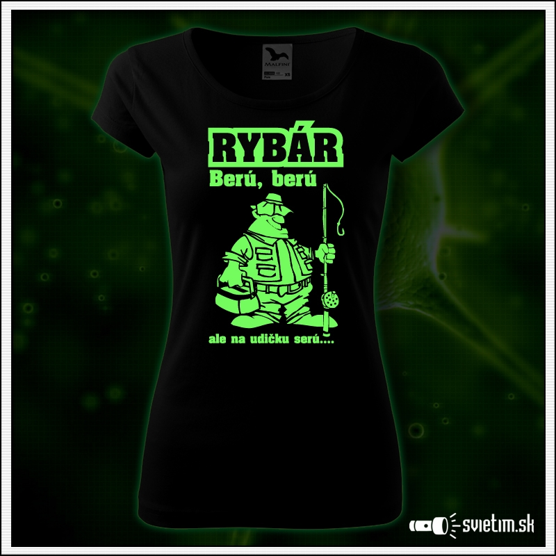 vtipné svietiace tričko pre rybárku, rybársky vtipný darček pre ženu