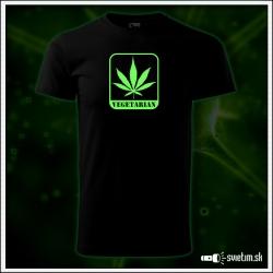 pánske vtipné svietiace tričko marihuana Vegetarian cannabis humorný darček