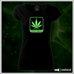 vtipné dámske tričko Vegetarian marihuana vtipný darček cannabis