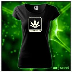 humorné svietiace tričko pre ženu Vegetarian cannabis darček k narodeninám