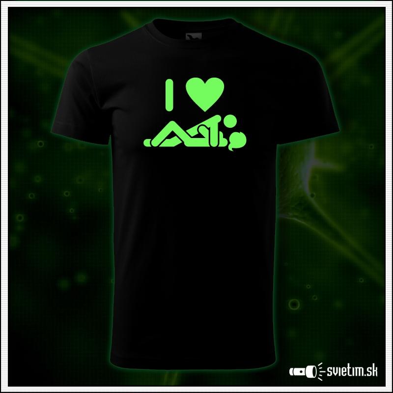 vtipné tričká so svietiacou potlačou I love SEX, humorný darček pre muža