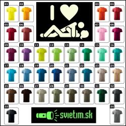 farebné pánske vtipné svietiace tričká I love SEX so svietiacou potlačou vtipné darčeky sex