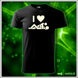 vtipné svietiace tričká s humornou potlačou I love SEX, vtipný darček pre muža