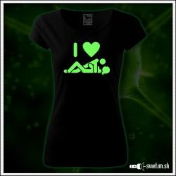 vtipné dámske svietiace tričko I love sex vtipný sexi darček pre ženu
