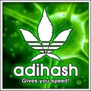 Humorné vtipné svietiace tričko Adihash s motívom paródie Adidas